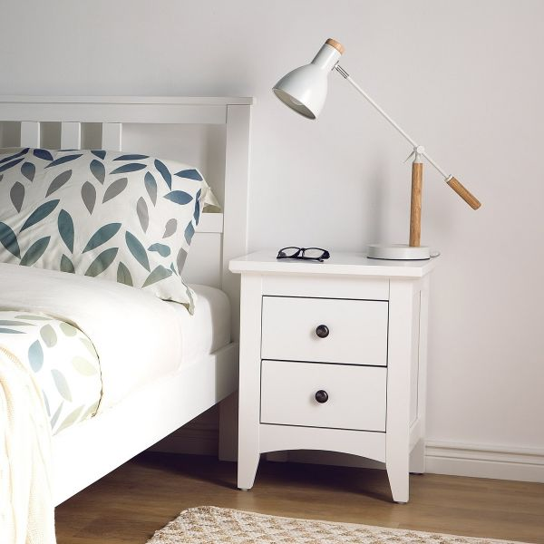 Jolie 2 Drawer Bedside Table - White