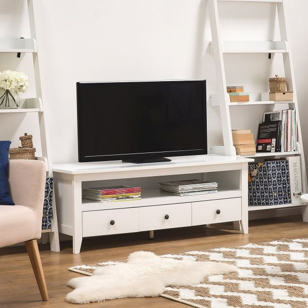 Barkley TV Stand with 3 drawers - White