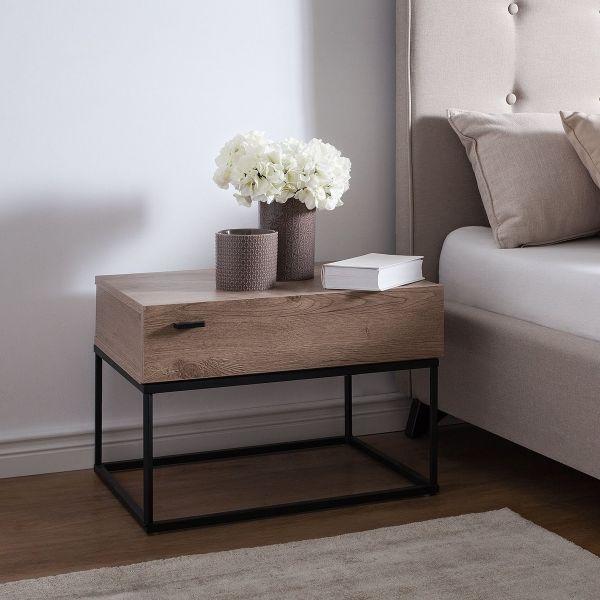 Cair Bedside Table - Dark Wood