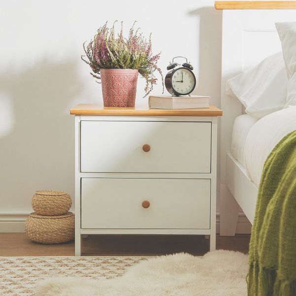 Olive Bedside Table  with 2 Drawer - White