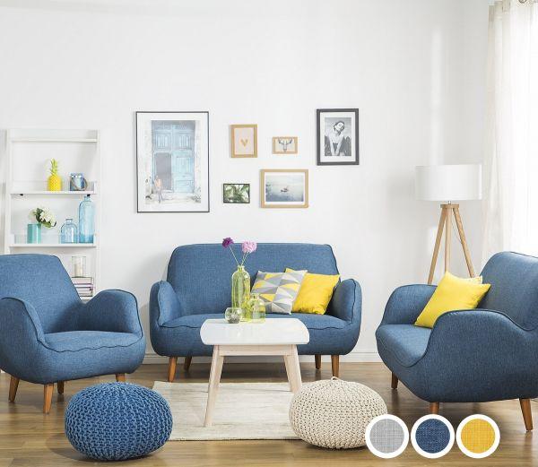 Koki Fabric Living Room Set - Grey or Blue