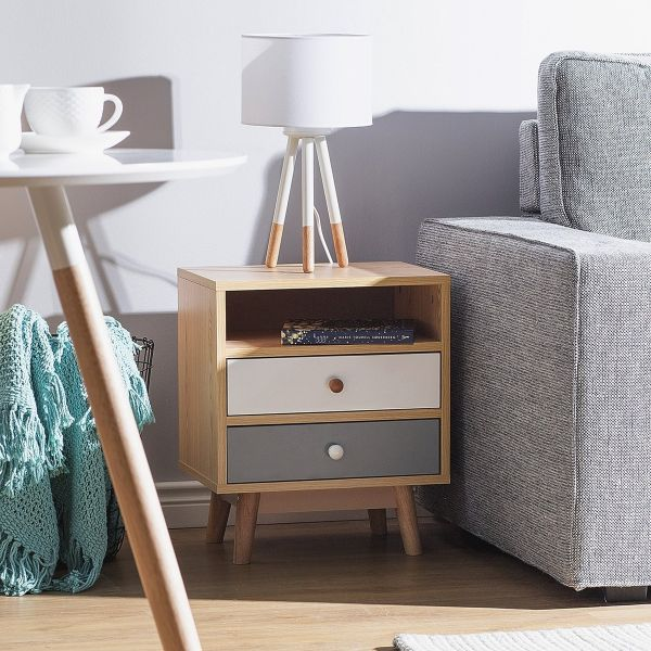 Farg Bedside Table with 2 Drawer - Light Wood