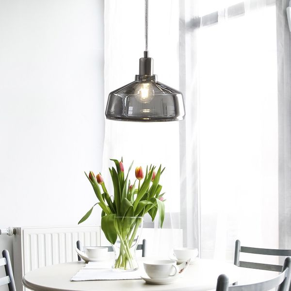 Dravy Smoked Glass Pendant Lamp - Grey