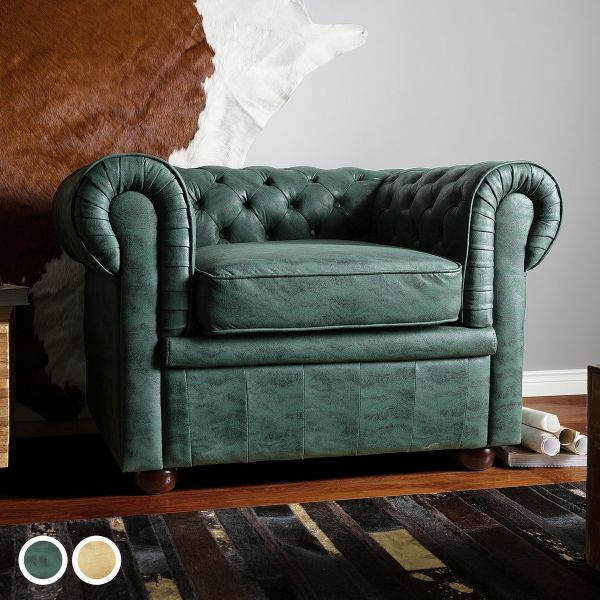 Chesterfield Faux Leather Armchair - 2 Colours