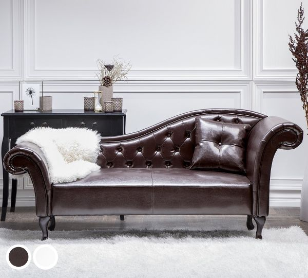 Latte Faux Leather Chaise Longue - Brown or White