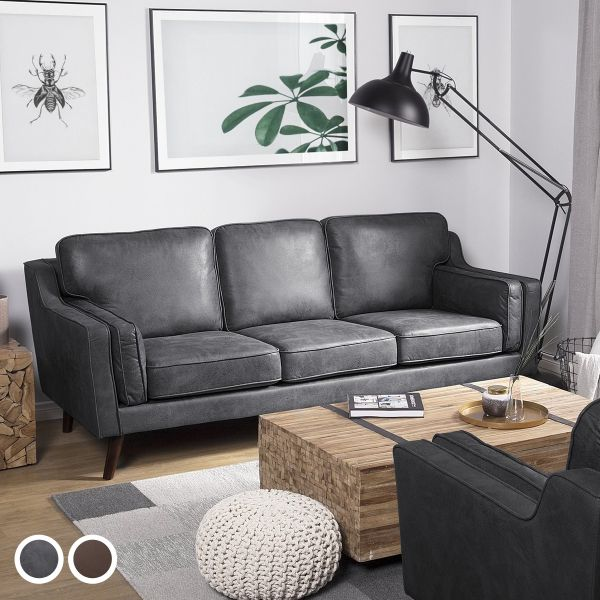 Loko Faux Leather Sofa with 3 Seater - 2 Colours
