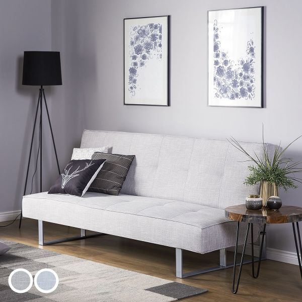 Deby Fabric Sofa Bed with 3 Seater - Light Blue or Light Grey
