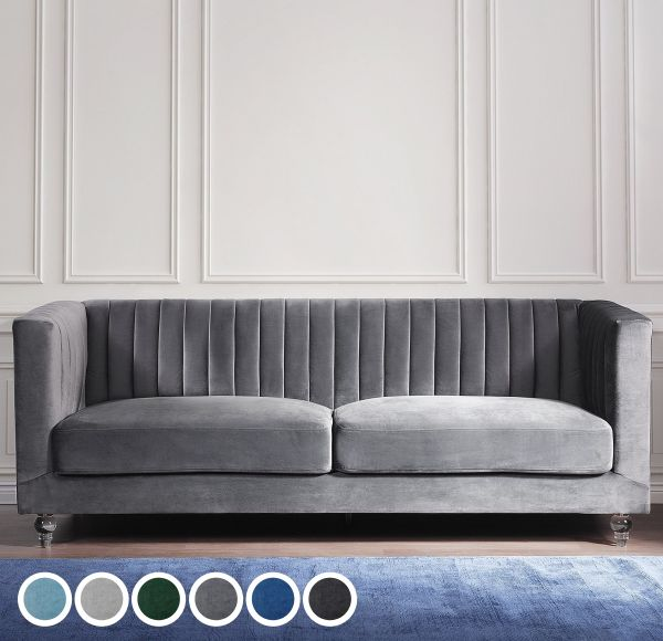 Vikar Velvet Fabric Sofa with 3 Seater  - 6 Colours