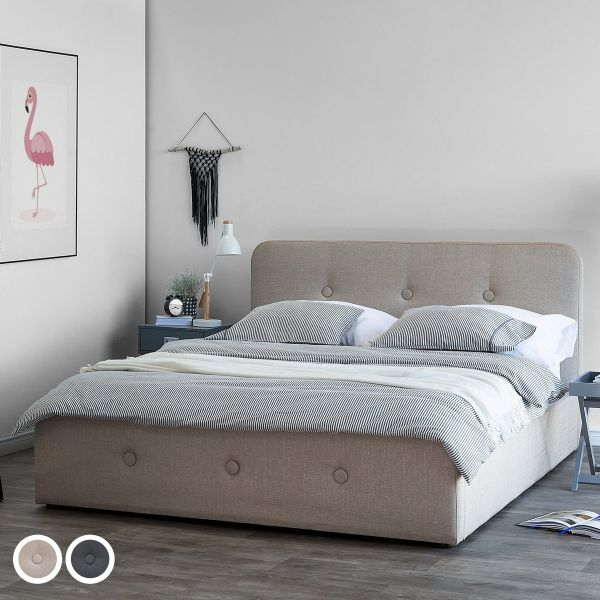 Senners Fabric Bed with Storage - 3 Sizes