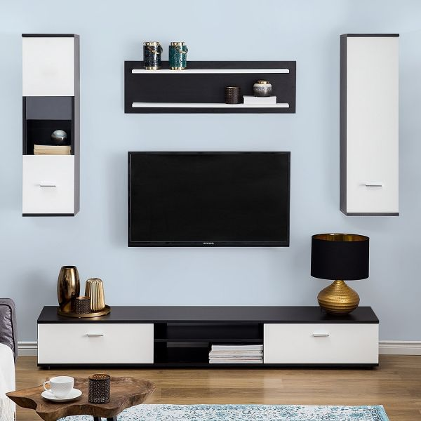 Silesa Wall Unit with Shelves and Cabinets - Black & White