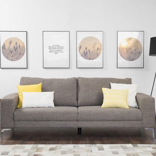 Orero Fabric Sofa with 3 Seater - Grey