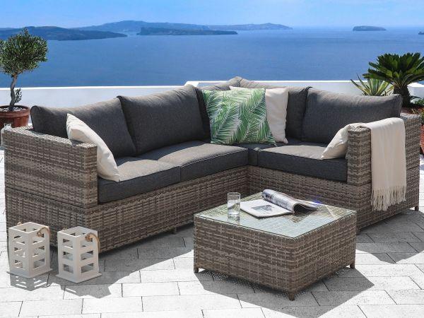 Avolo Rattan Garden Corner Sofa Set - Grey