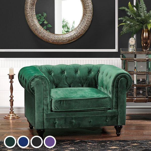 Chesterfield Velvet Armchair - 4 Colours