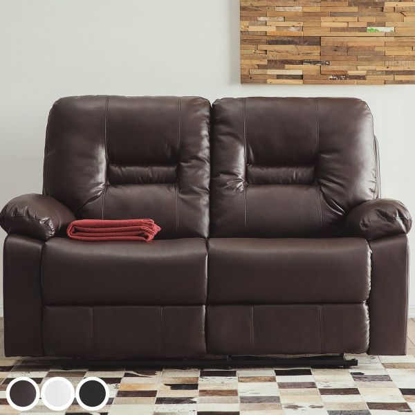 Bartan Faux Leather Reclining Sofa with 2 Seater - 3 Colours