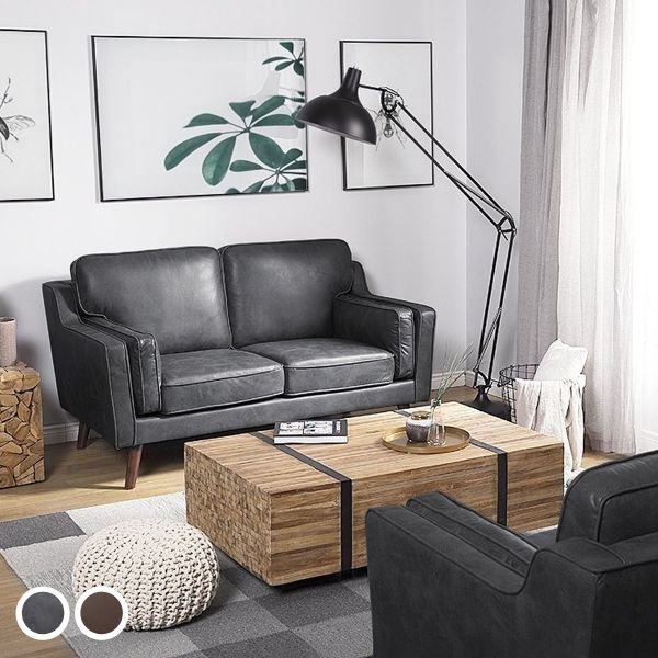 Loko Faux Leather Sofa with 2 Seater - 2 Colours