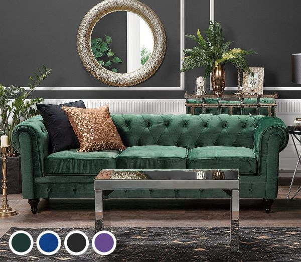 Chesterfield Velvet Sofa with 3 Seater - 4 Colours
