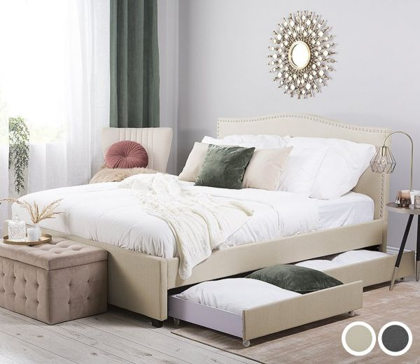 Montpell Fabric Bed - Grey & Beige