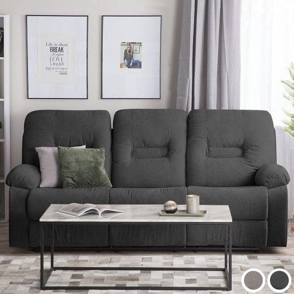 Bartan Fabric Reclining Sofa with 3 Seater - Dark Grey or Taupe