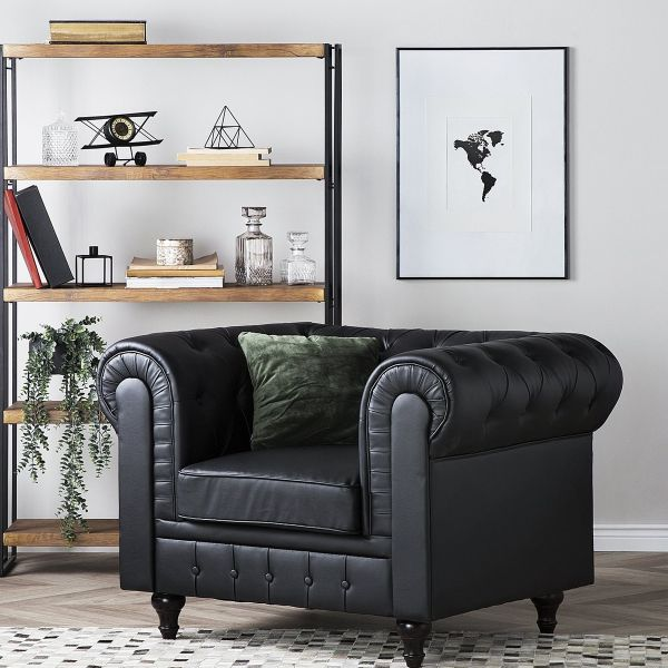 Chesterfield Faux Leather Armchair Big - Black