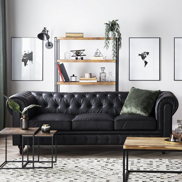 Chesterfield Faux Leather Sofa with 3 Seater Big - Black