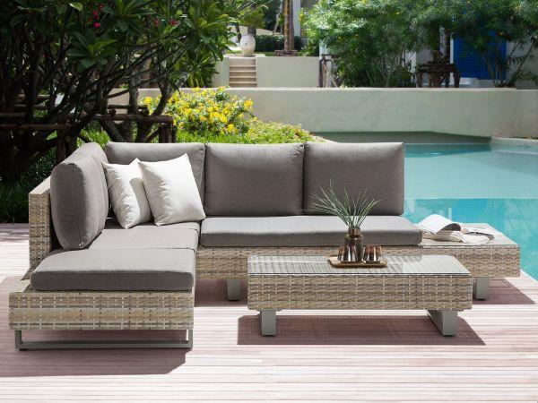 Lucian Rattan Garden Corner Sofa Set - Beige