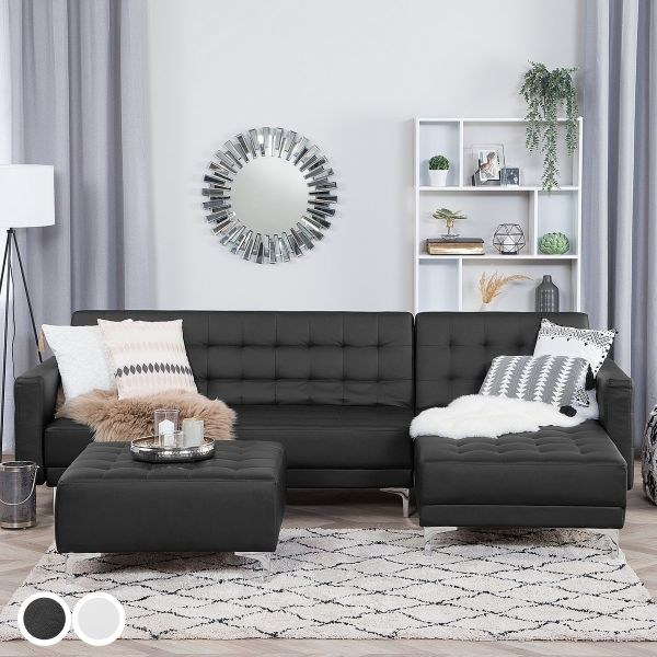 Abbie Faux Leather Corner Sofa - Black or White
