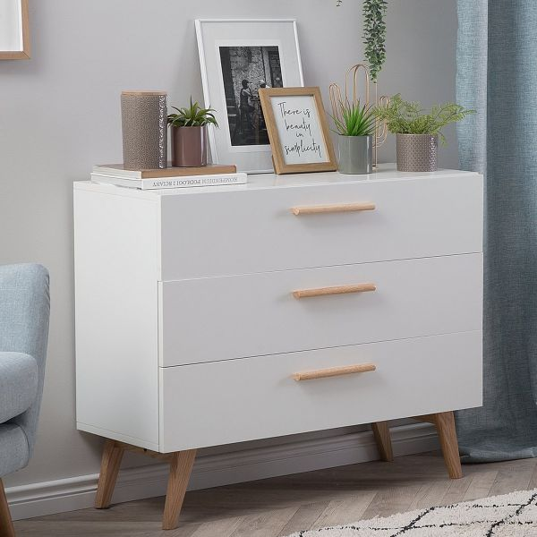 Selm Sideboard with Shelving & Drawers - White