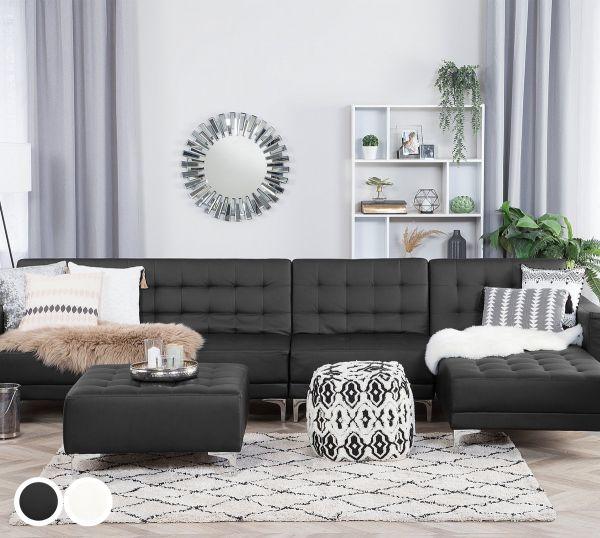 Abbie Faux Leather Modular Corner Sofa - Black or White