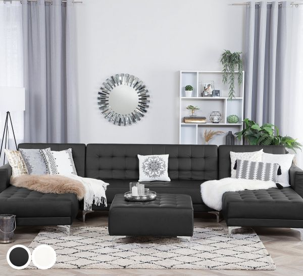 Abbie Faux Leather Modular U-Shaped Sofa with 5 Seater - Black or White