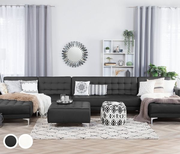 Abbie Faux Leather Modular U-Shaped Sofa 6-Seater - Black or White