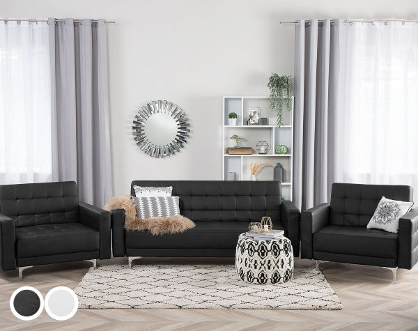Abbie Faux Leather Living Room Set - Black or White