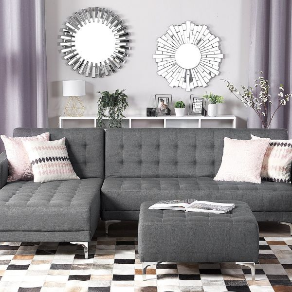 Abbie Fabric Corner Sofa with Ottoman - Grey