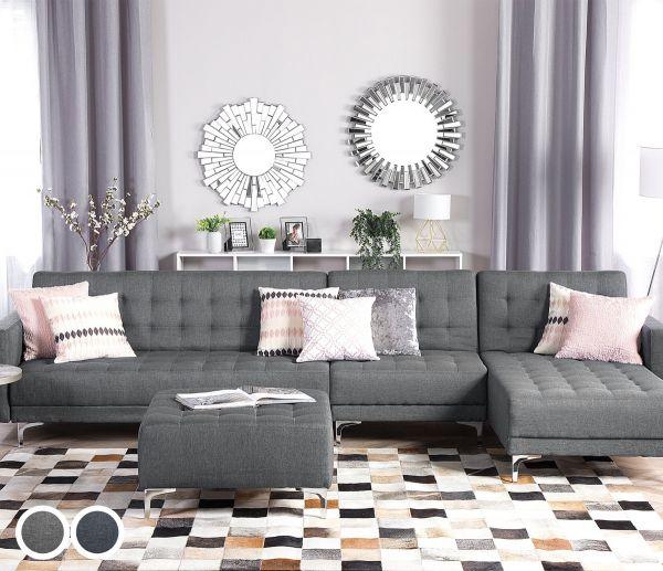 Abbie Fabric Modular Corner Sofa with Ottoman - Grey