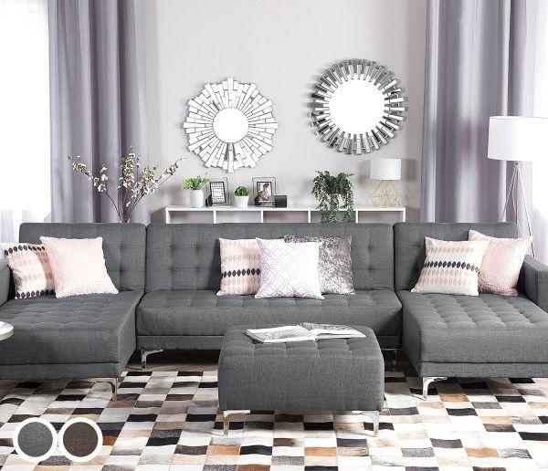 Abbie Fabric Modular U-Shaped Sofa with 5 Seater - Light Grey or Dark Brown