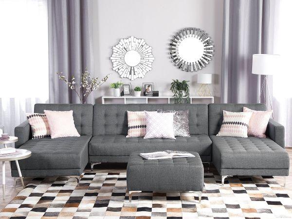 Abbie Fabric Modular U-Shaped Sofa 5-Seater with Ottoman