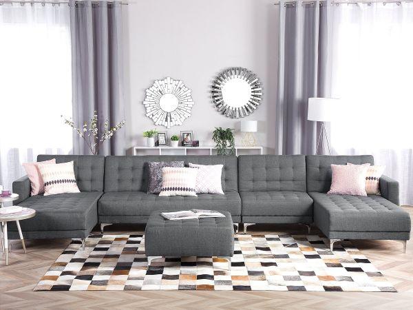 Abbie Fabric Modular U-Shaped Sofa 6-Seater with Ottoman