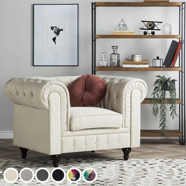 Chesterfield Fabric Armchair - 6 Colours