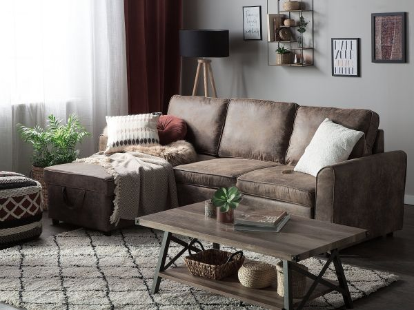 Nena Faux Leather Sofa Bed with Storage - Brown