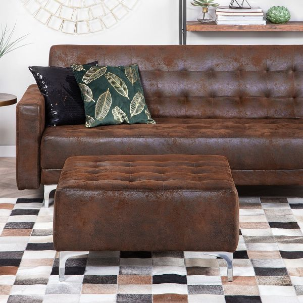 Abbie Faux Leather Ottoman - Brown