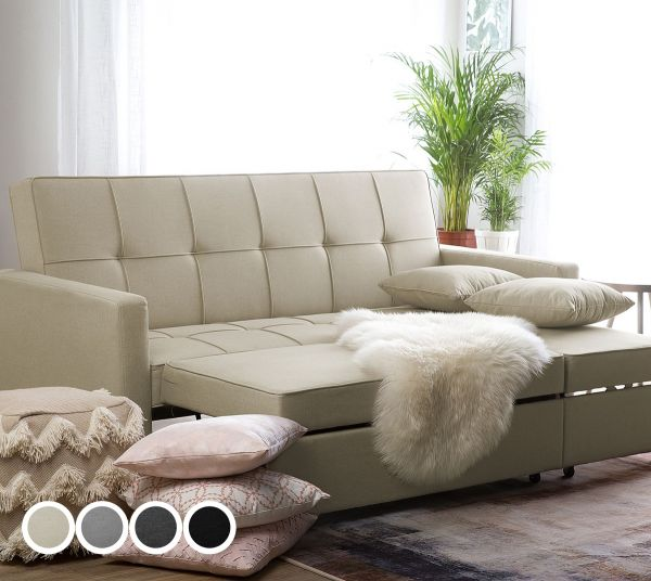 Glamo Fabric Sofa Bed with 3 Seater - 4 Colours