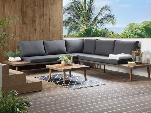 Coral 5-Seat Wood Garden Corner Sofa Set - Grey