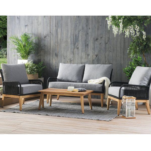 Meran 4PC Wooden Garden Lounge Sofa Set - Grey