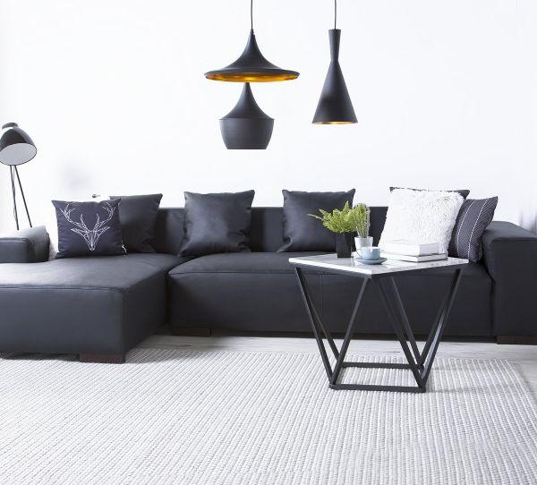 Lundo Leather Corner Sofa - Black
