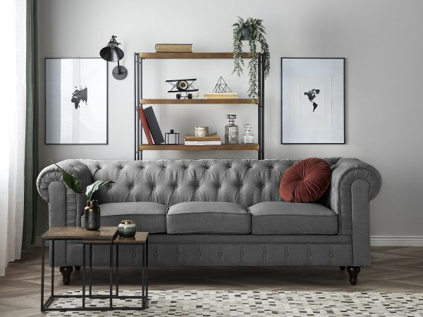Chesterfield Fabric Sofa with 3 Seater Big - 2 Colours