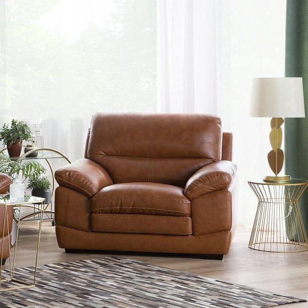 Hoten Leather Armchair - Golden Brown