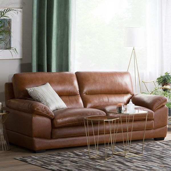 Hoten Leather Sofa with 3 Seater - Golden Brown