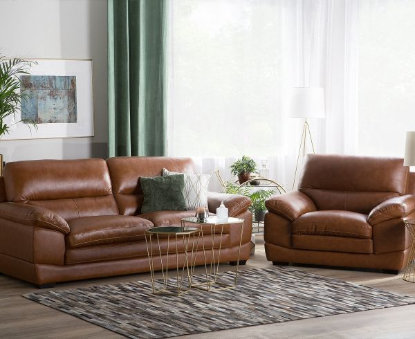 Hoten Leather Living Room Set - Golden Brown