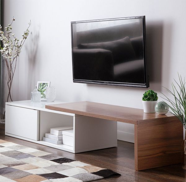 Yokers TV Stand with Shelves and Sliding top -  White & Dark Wood