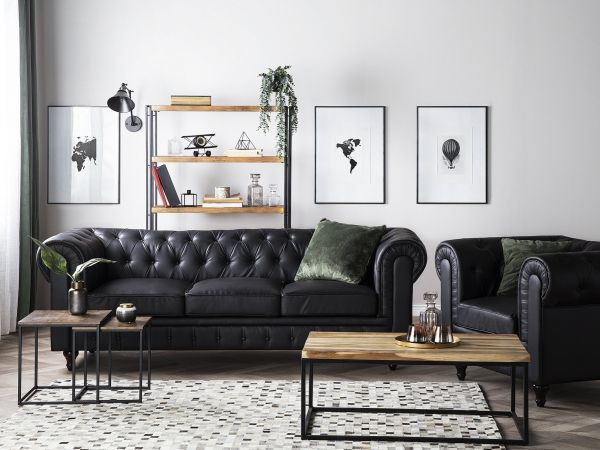 Chesterfield Faux Leather Living Room Set Big - Black