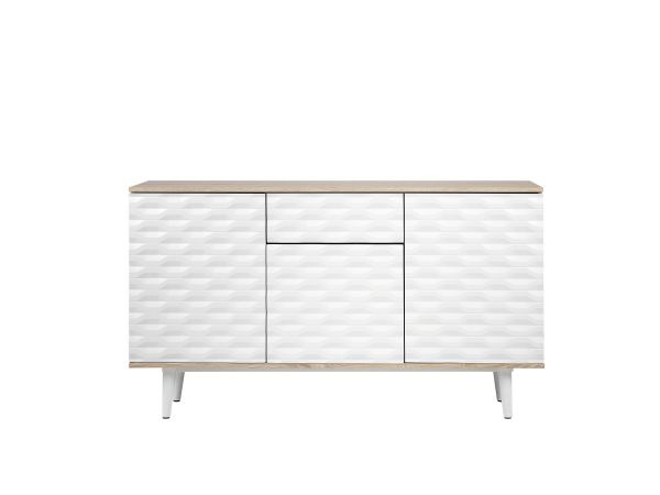 Wansea Sideboard with Drawers - White & Light Wood